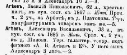 купцов Москвы 1887 год - Агеев Александр Васильевич
